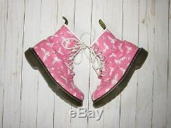 Dr. Martens Pink Butterfly & Rose Print RARE Boots Size W 7