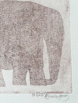 Edward Gorey Rose Elephant on Three Legs Etching Ltd. Ed. / SIGNED V. RARE