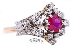 Edwardian 18 Kt Gold Rose Cut Diamonds And Red Ruby Antique 1910 Ring Rare