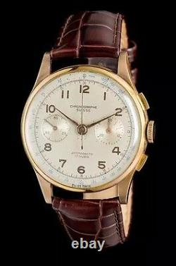 Excellent Rare 18K Rose Gold Antimagnetic Chronograph Watch, Chronographe Suisse