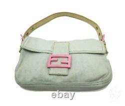 FENDI Mamma Baguette Shoulder Bag Jersey Leather Blue Rose Pink Rare Used