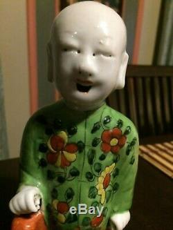 Famille Rose Laughing Boy Asian Antique Figurine Rare Middle 19th Century