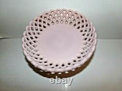 Fenton Lacy Edge Rose Pink Milk Glass Footed Compote, Bowl, VERY RARE, c1950s