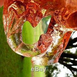 Fenton RARE Rose Transparent Elephant Planter