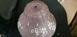 Fenton Rose Pink Satin Painted Lamp Special Edition And Rare by Huffman 17.5 in