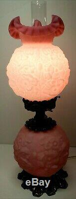 Fenton Rose Satin Poppy 24 Gone With The Wind Double Ball Lamp Rare Collectable