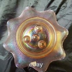 Fenton Velva Pink Rose Carnival Stretch Glass Epergne 5 Pieces Rare 75th Anniver