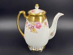 Foley Golden Pink Rose Bouquet 2726 Coffee Pot Bone China England Rare