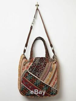 Free People India Rose Beaded Embroidered Patch Tote Bag Purse Rare