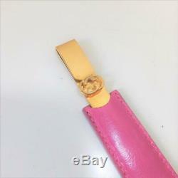 GUCCI Letter Opener Knife Gold Metal Rose Pink Vintage Rare Used Ex++