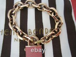 HENRI BENDEL Flawless Rose Gold Tone Logo Lock Link Chain Bracelet PINK NEW RARE