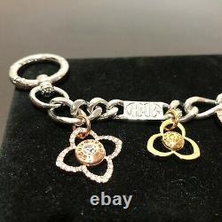 HENRI BENDEL PETAL BAG SWAG CHARM Crystals Silver Rose Yellow Gold Tone HTF RARE