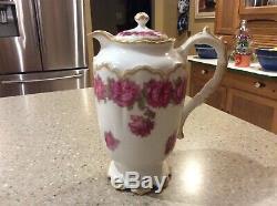 Haviland Limoges Drop Rose Pink Tea/Chocolate Pot 8 1/4 Tall Rare