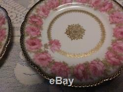 Haviland Limoges Drop Rose Plates Set of 6 Rare President McKinley Rare