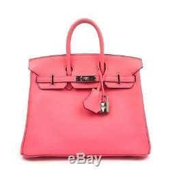 Hermes Birkin 25 Rose Azalea Pink Palladium Hardware RARE