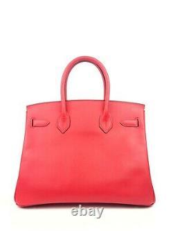 Hermes Birkin 30 Bougainvillea Red Pink Epsom Palladium Hardware RARE
