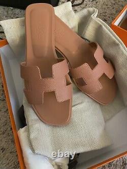 Hermes Oran Sandals 37.5 Rose Aube, Epsom Leather, Brand New, Rare Seasonal Color