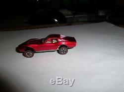 Hot Wheels Redline Custom Corvette In Rare Rose Near Mint USA White Int