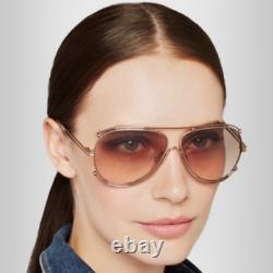 ICONIC Chloe ISIDORA 61mm Aviator Sunglasses Rose Gold /Peach MSRP$420 RARE FIND