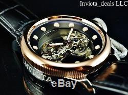 Invicta 52mm Russian Diver GHOST BRIDGE AUTOMATIC ROSE TONE Leather Watch-RARE