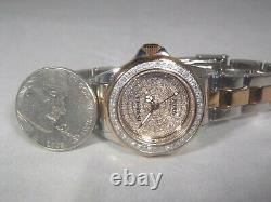 Invicta Diamond Pave Swiss Pro Diver Women's Watch Two Tone Silver & Rose RARE