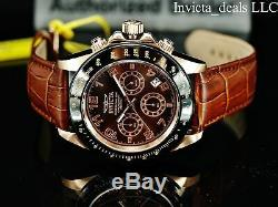 Invicta Men's 43mm SPEEDWAY Chronograph BROWN Dial Rose Tone 200m SS Watch-RARE