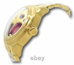 Invicta Speedway Automatic Men's 50mm Gold Skull Red Dial Watch 33202 Rare