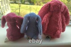 Jellycat Bashful Bunny rare bundle! STRAWBERRY medium + ROSE & BLUEBELL small
