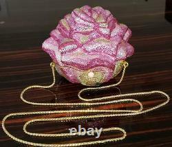 Judith Leiber Swarovski Crystal Rare Pink Rose Handbag Minaudiere Clutch