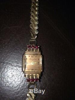 KINGSTON 14K ROSE GOLD RARE VINTAGE LANDAU LADIES WATCH With6 RUBIES/ BROKEN BAND