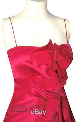Karen Millen Pink Corsage Silk Ruffle Rose Very Rare Dress Sz 10 Bnwt
