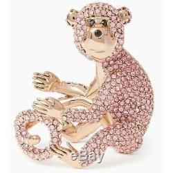 Kate Spade Monkey Ring NWT RARE Rambling Rose Crystal Pave Size 5
