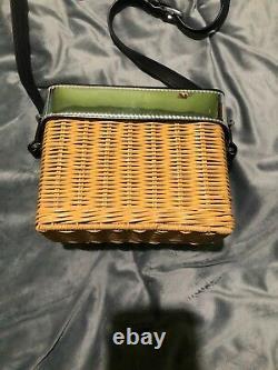 Kate Spade New York Rose Wicker Camera Bag Rattan Natural / Silver NEW RARE