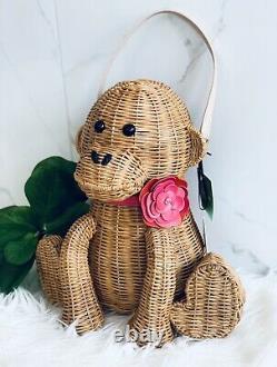 Kate Spade Wicker Monkey Bag Rambling Roses Collection RARE Novelty Wicker