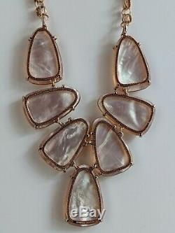 Kendra Scott Harlow Statement Necklace Pink Blush Pearl Rose Gold Retired Rare