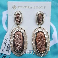 Kendra Scott Kaki Rose Gold Drusy Large Drop Earrings Fashion Rare NWT Baguettes