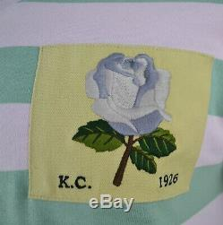 Kent & Curwen Hooped Pink Green V-neck Ls Top Blue Rose Patch David Beckham Rare