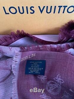 LOUIS VUITTON Pink Cashmere Scarf Mauve Rose Monogram Pareo Shawl RARE NEW NIB
