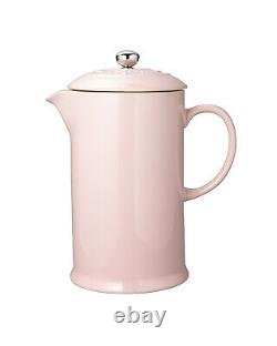 Le Creuset Coffee Pot with Metal Press French Style Antique Rose from Japan Rare
