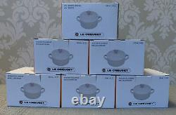 Le Creuset Set Of 6 8oz Cocottes White With Pink Roses Very Rare