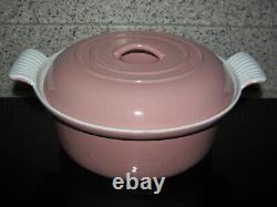 Le Creuset Vintage Dusky Rose Pink 2 Qt Round Dutch Oven #22 Rare Cast Iron