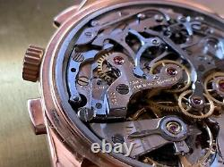 Longines 6595 Cal 30CH 18K Solid Rose Gold Flyback Chronograph RARE with Box 1957