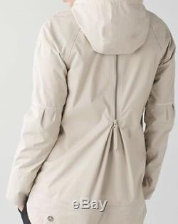 Lululemon Fo Drizzle Rain Jacket Cashewithrose Gold Zipper Sz 12extremely Rare