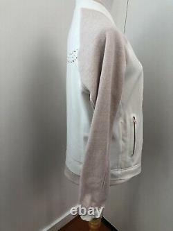 Lululemon Neoprene Var-City Bomber Jacket White Pink Sz 8 Rose Gold Zip RARE FS
