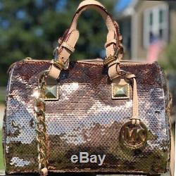 MK Michael Kors Grayson Sequin Rose Gold Very Rare Purse Bag