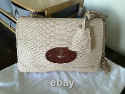 MULBERRY Lily Plaster Pink Snake Print Leather Rose Gold Bag Small AS NEW RARE
