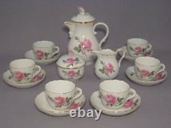 Meissen Pink Rose Coffee Set For 6Rare+Mint Condition