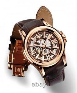 Mens Bulova Accutron Kirkwood Rose Gold Tone Brown Leather Watch 64A103 RARE