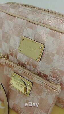 Michael Kors EW Metallic Signature Rose Gold Checkerboard Crossbody Set Rare
