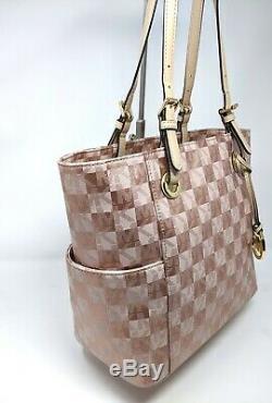 Michael Kors MK Bag Metallic Rose Gold Checkerboard E/W Jet Set Tote Rare LTDED